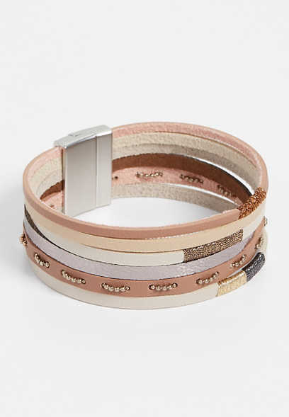 extended length tan multi row magnetic bracelet