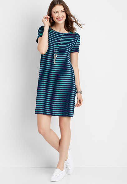 24/7 stripe keyhole back t-shirt dress