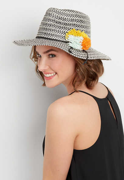 multi colored pom panama hat