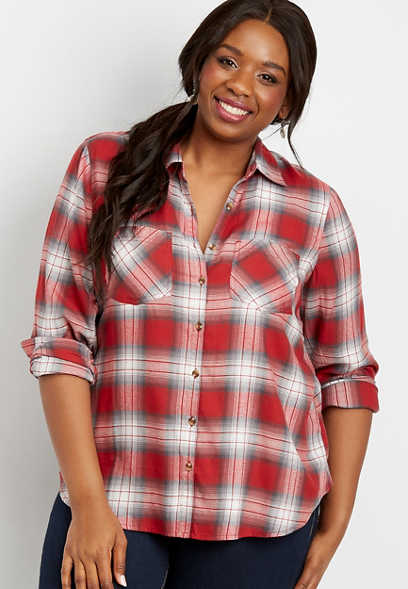 plus size plaid flannel button down shirt
