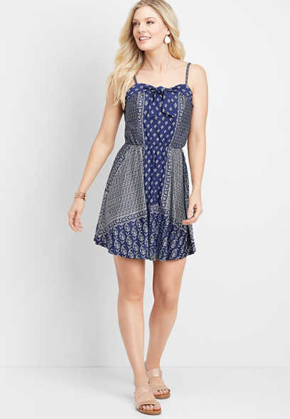 bandana print tie neck dress