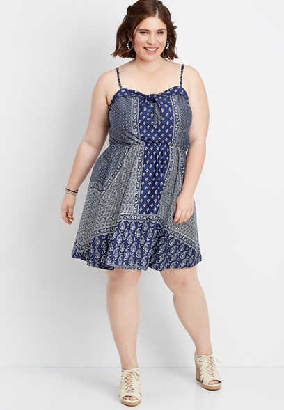 plus size bandana print tie neck dress