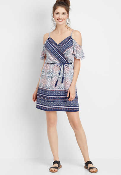 cold shoulder border print dress