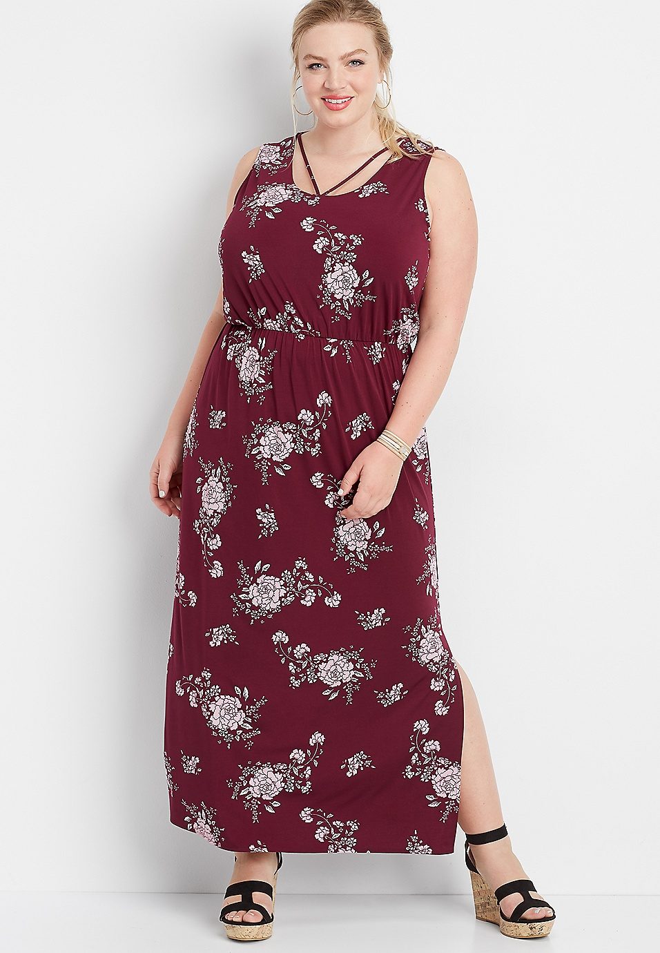 plus size floral strappy neck maxi dress