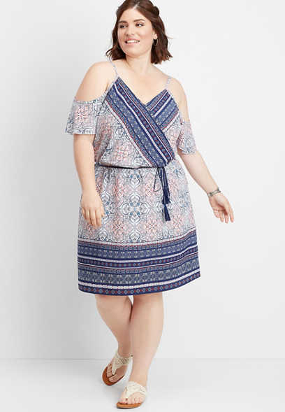 plus size cold shoulder border print dress
