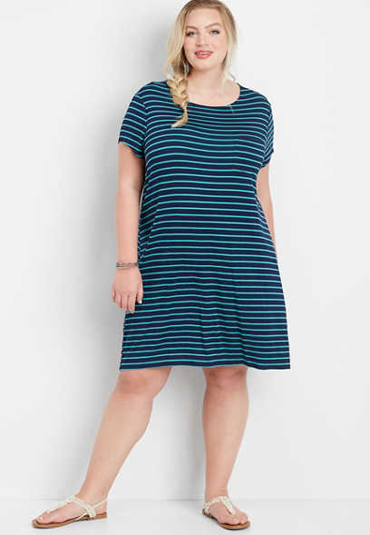 plus size 24/7 stripe keyhole back t-shirt dress