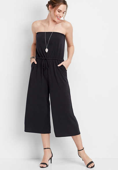 solid tube top jumpsuit