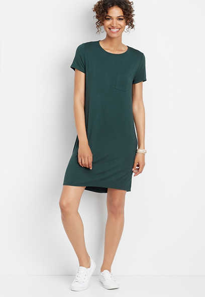 24/7 solid keyhole back t-shirt dress