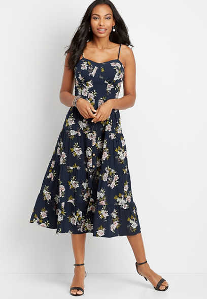 floral button front mid-length dress