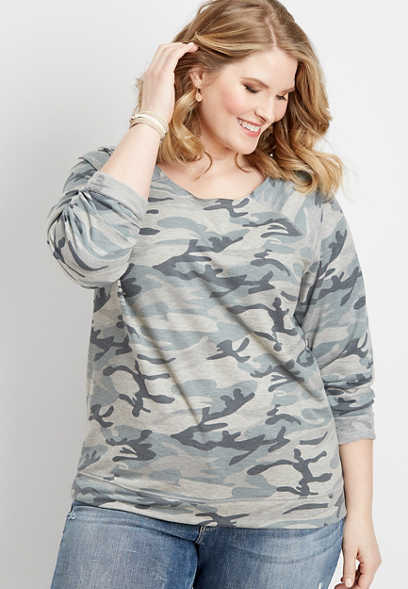 plus size camo raw edge sweatshirt