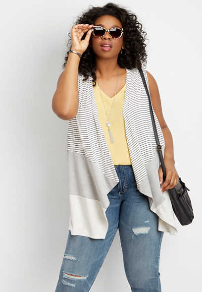plus size mixed stripe open front vest