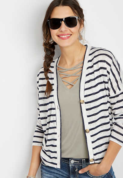 87a6ad1b8 stripe button front dolman cardigan