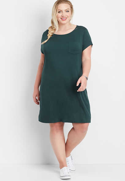 plus size 24/7 solid keyhole back t-shirt dress
