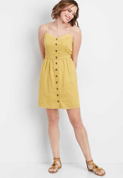 solid button front tank dress