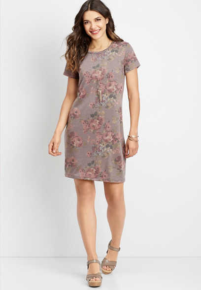 floral scoop neck t-shirt dress