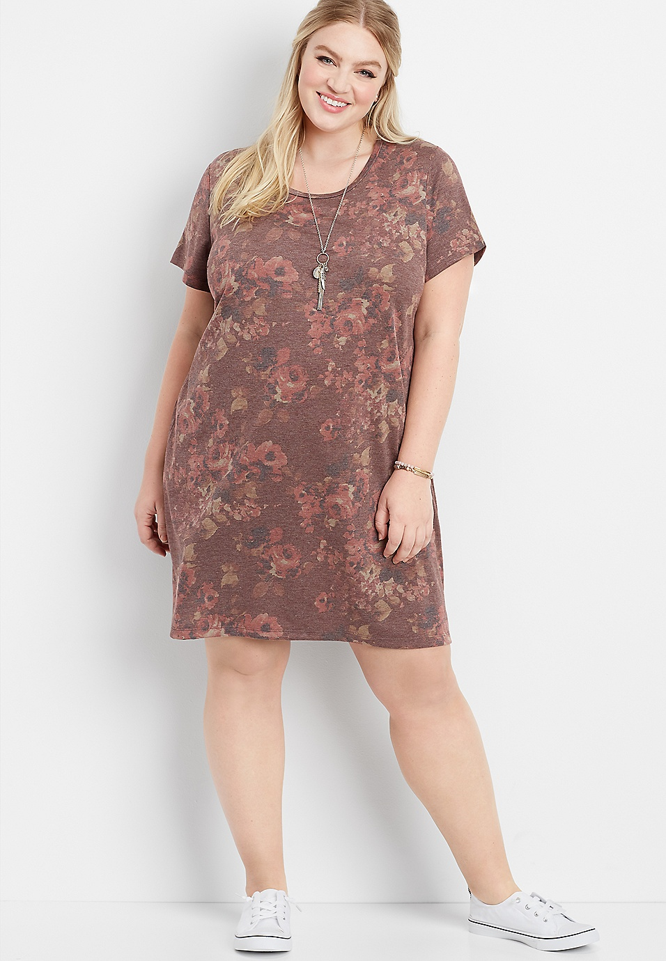 plus size floral short sleeve t-shirt dress