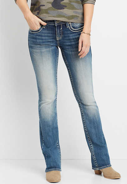 Vigoss® medium wash slim bootcut jean
