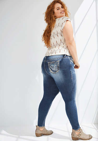 Plus Size Vigoss® Dark Wash Thick Stitch Skinny Jean