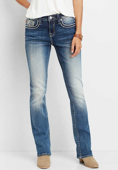 Vigoss® thick stitch faux flap pocket slim boot jean