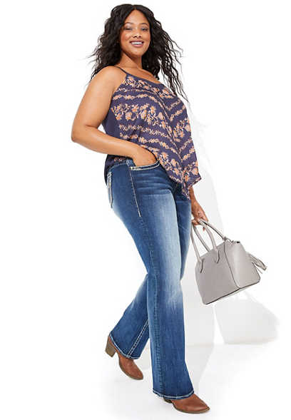 plus size Vigoss® thick stitch dark wash bootcut jean