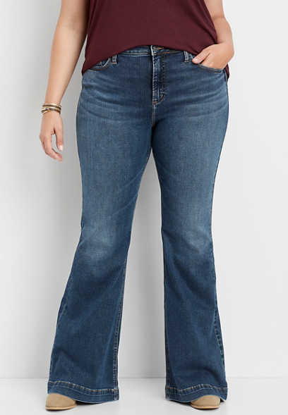 plus size Silver Jeans Co.® high rise medium wash flare jean