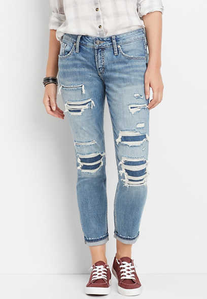 Silver Jeans Co.® backed destructed cuffed boyfriend jean