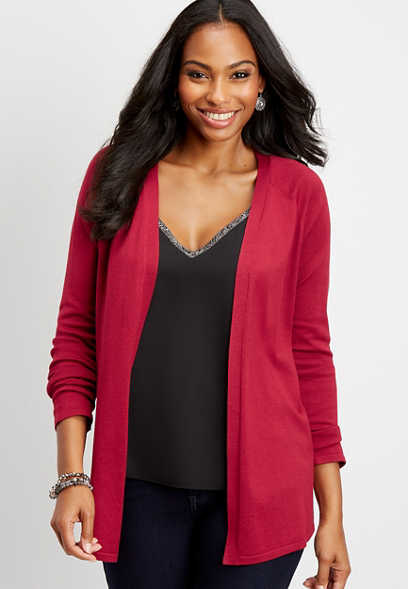 long sleeve pointelle back cardigan