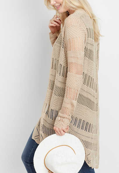 mitered pointelle duster cardigan