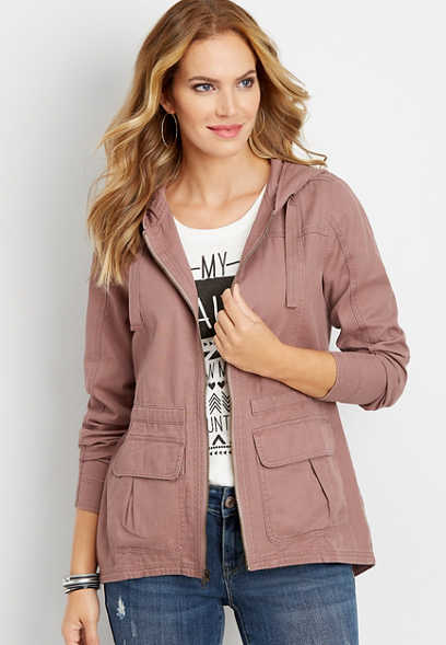 solid hooded anorak jacket