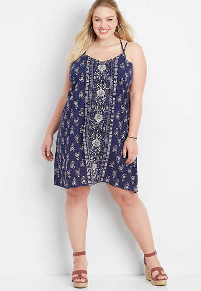 plus size bandana print woven tank dress