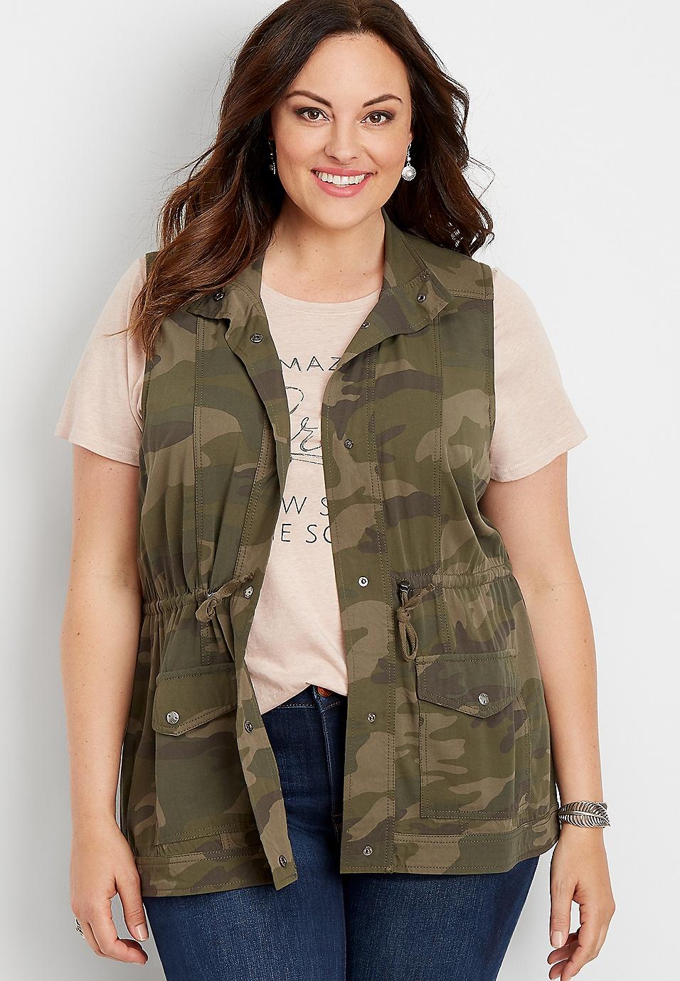 plus size camo snap front drape vest