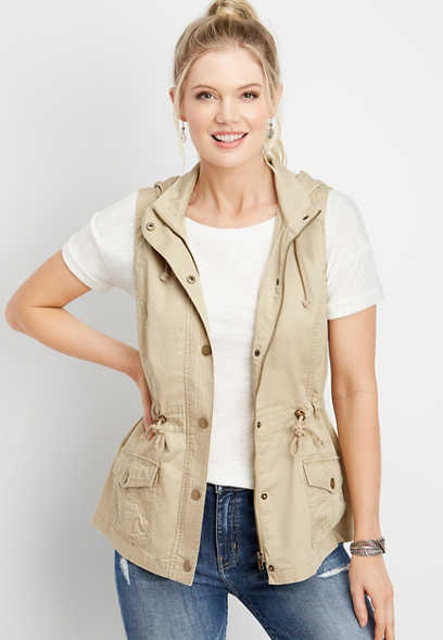 zip front hooded vest