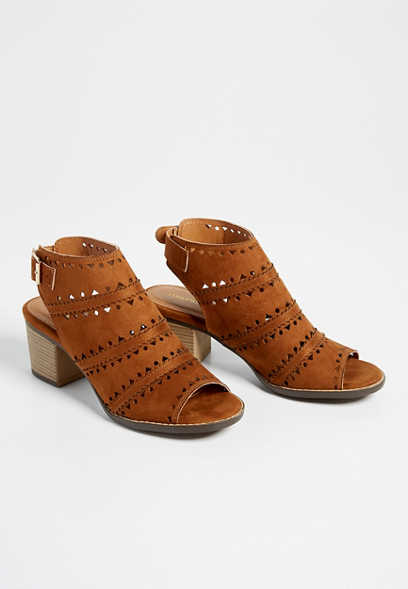 Reese open toe laser cut heel