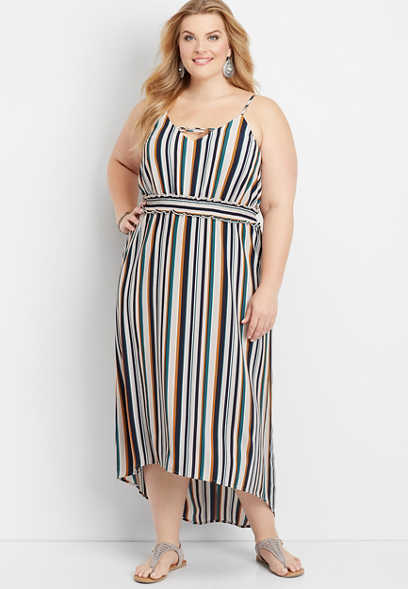 plus size strappy neck stripe maxi dress