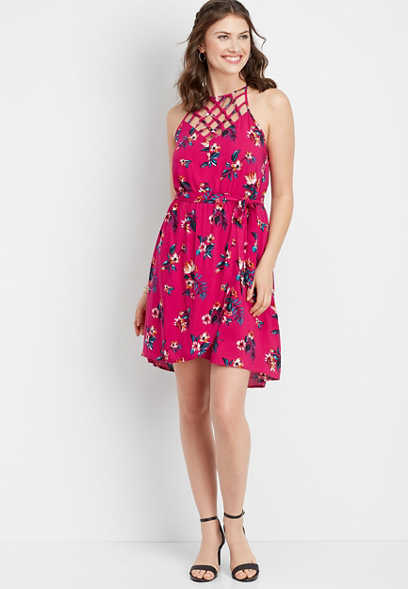 lattice neck tropical floral dress