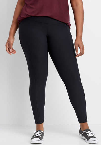 plus size solid side pocket legging