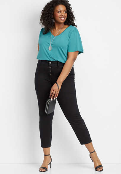 plus size DenimFlex™ black high rise button fly ankle jegging