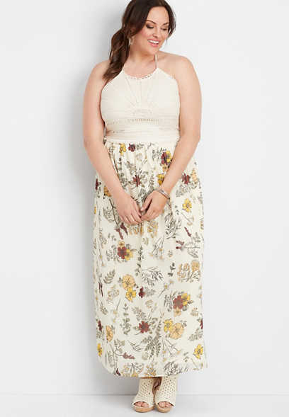 plus size crocheted top floral maxi dress