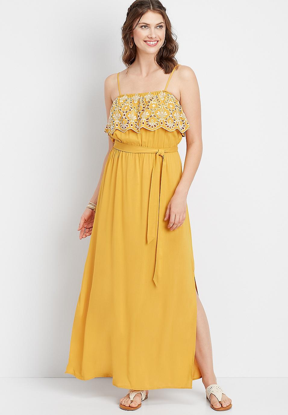 1d01fcf60c yellow eyelet trim maxi dress | maurices