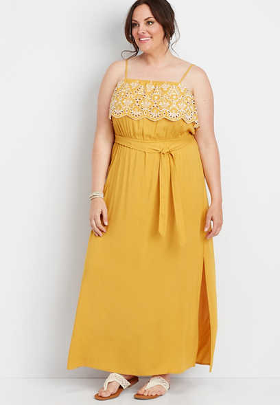 plus size yellow eyelet trim maxi dress