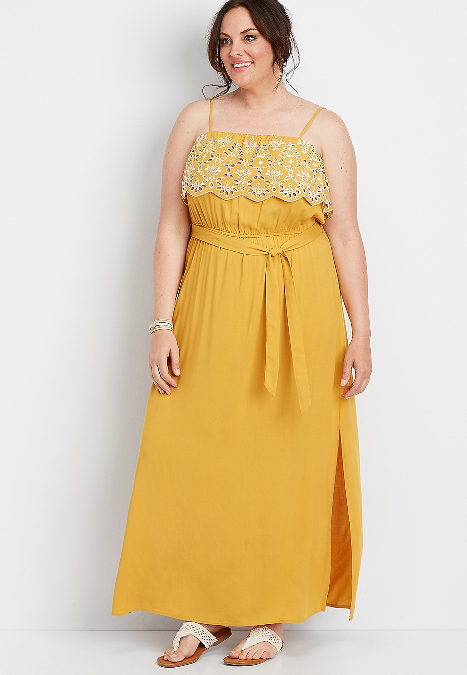 plus size yellow eyelet trim maxi dress | maurices