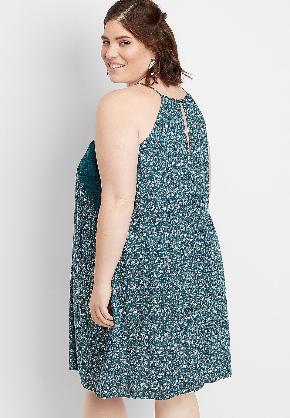 4efc9f3965b plus size floral crocheted trim dress | maurices