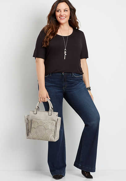 plus size Silver Jeans Co.® high rise dark wash flare jean