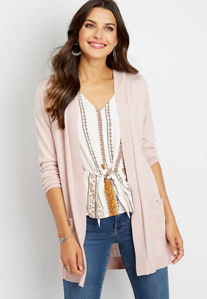 hooded long sleeve pointelle back cardigan
