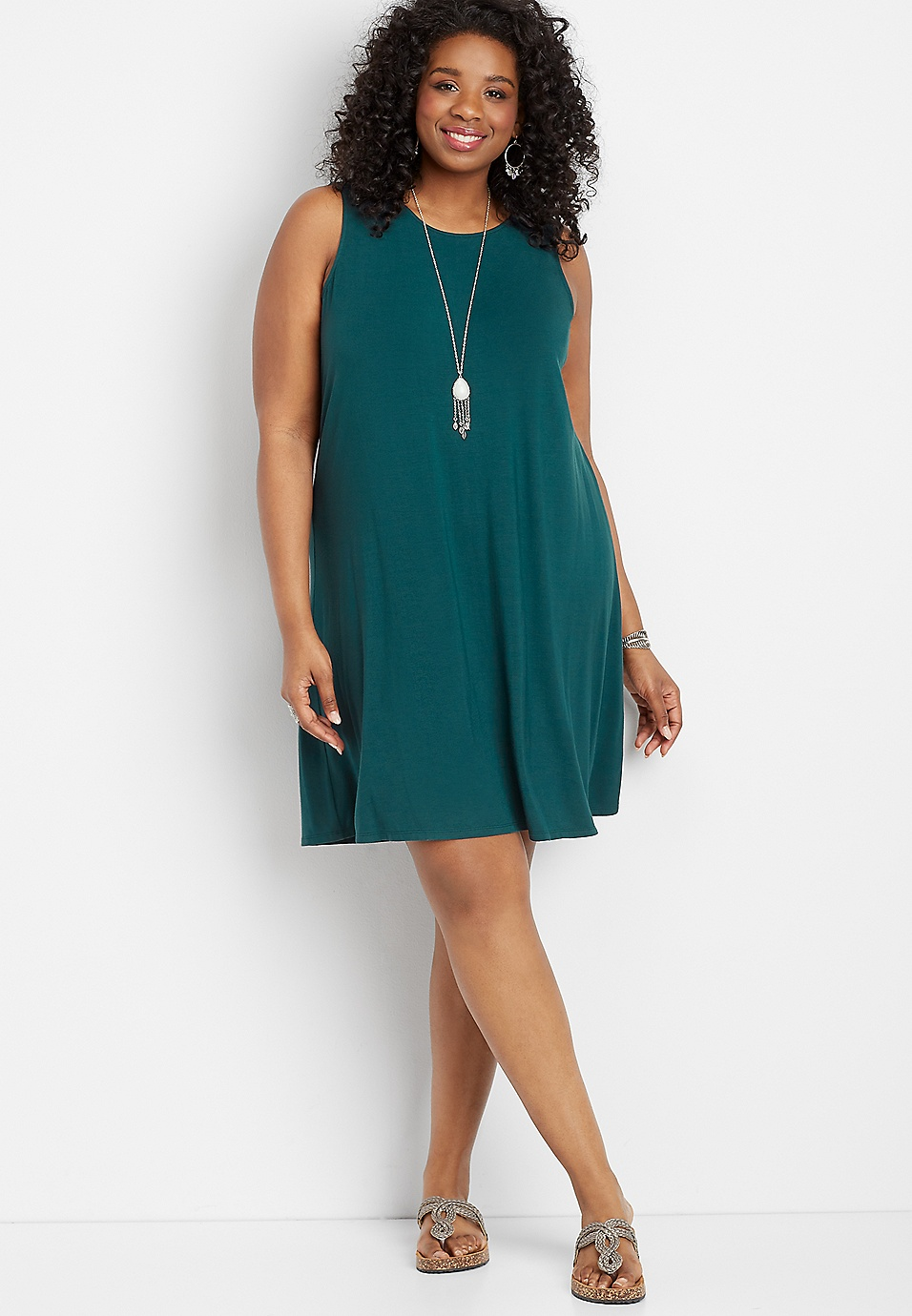 plus size 24/7 solid lattice back swing dress | maurices