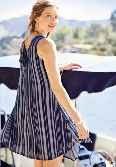 dd2e08eec93 navy stripe swing dress
