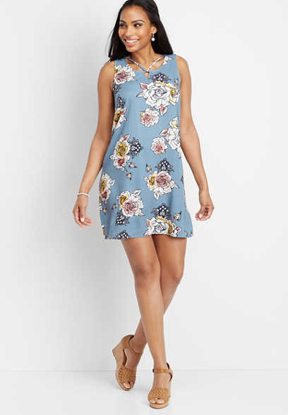 floral lattice neck shift dress