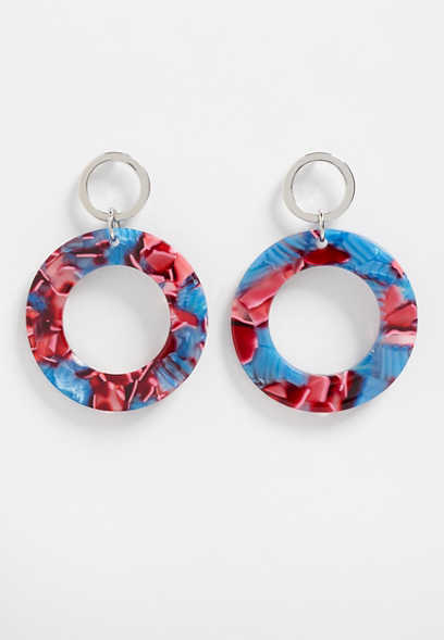 red and blue hoop earring