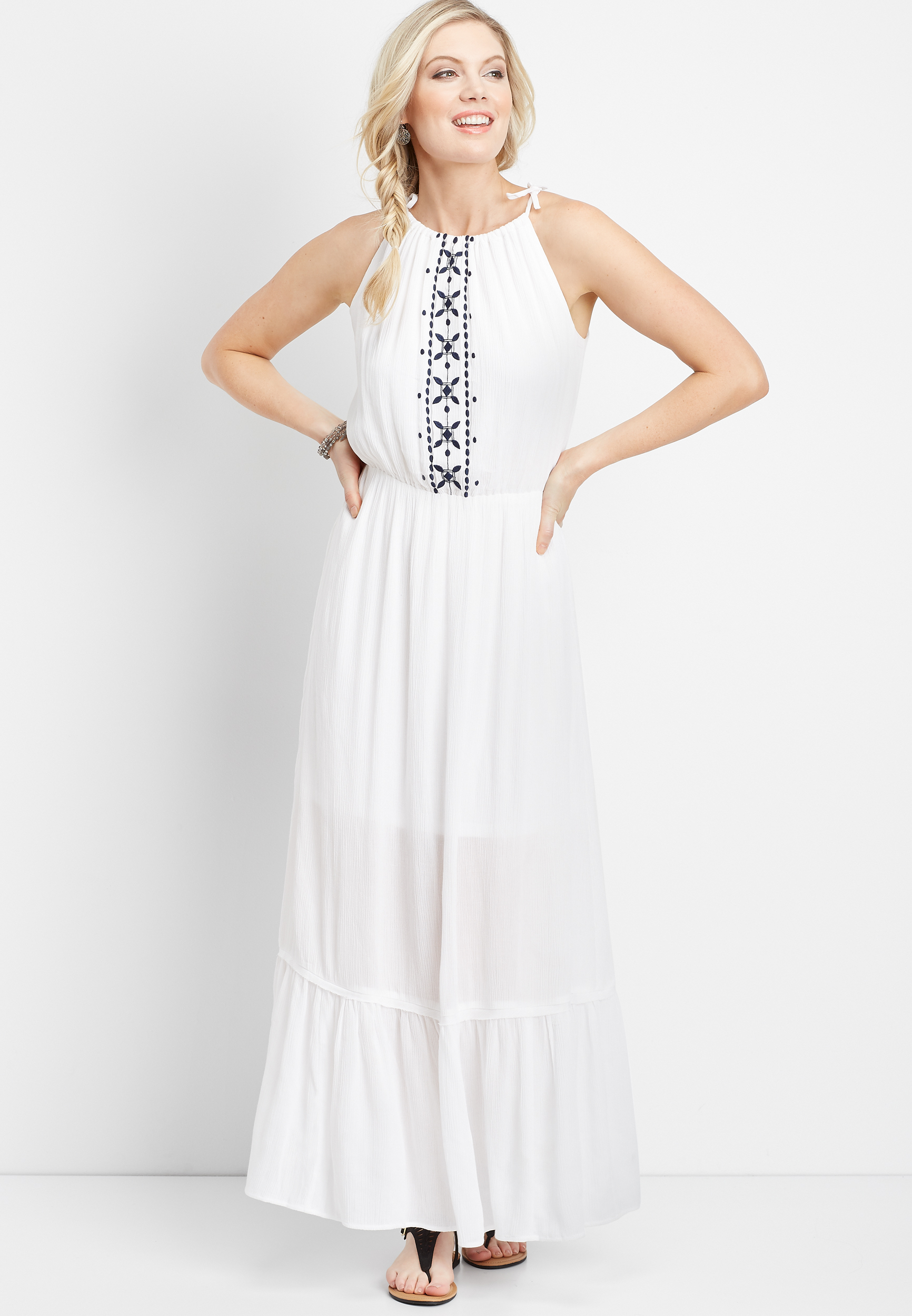 Embroidered Halter Top Maxi Dress by Maurices