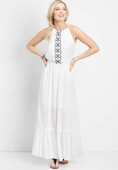 embroidered halter top maxi dress